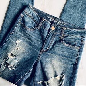 American Eagle Dark Wash Distressed HighRise Jeans